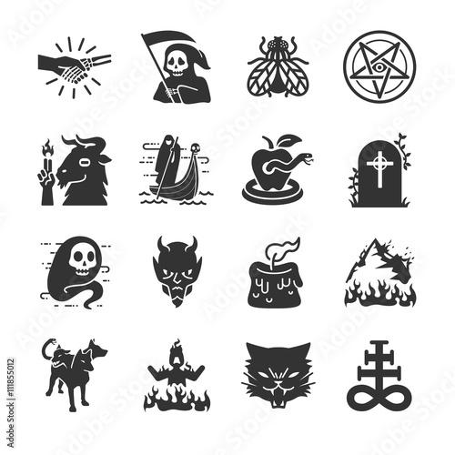 Carta da parati Hell and evil icons