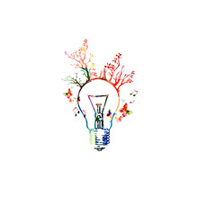 Colorful Light Bulb With Trees