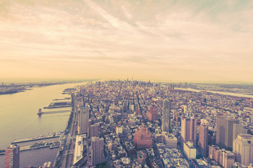 Fototapeta Nowy York Manhattan Panorama, Blick auf Midtown. vintage Look
