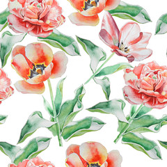 Fototapeta Seamless pattern with tulips.  Watercolor.