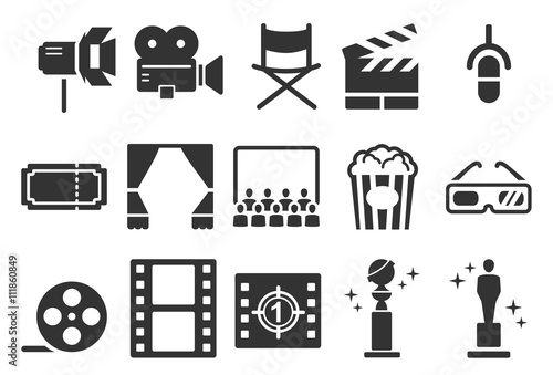 Photo  Stock Vector Illustration: Movies icons