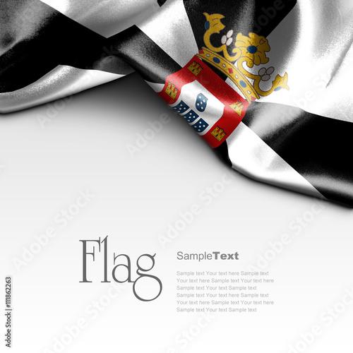 Flag of Ceuta on white background. Sample text.