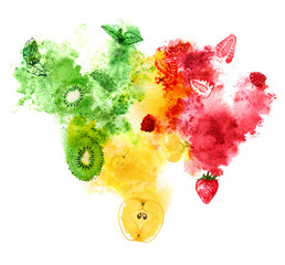 Red, yellow and green fruits and berries with juicy splash on white background. Hand-painted watercolor illustration