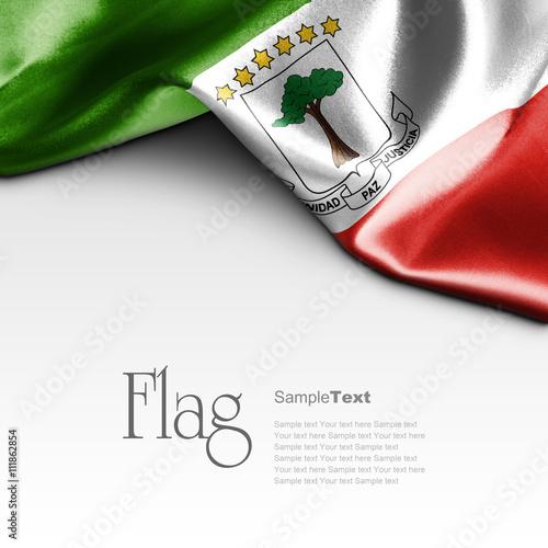 Fotografía  Flag of Equatorial Guinea on white background. Sample text.
