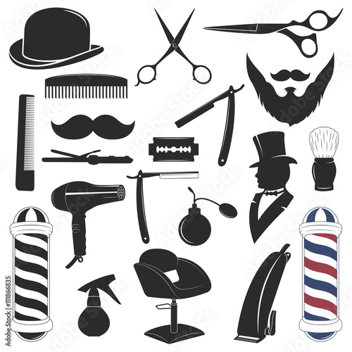Barbershop tool collection Wallpaper Mural