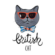 British Cat/Vector Illustration Of A Funny Cat In Sunglasses And Bow Tie