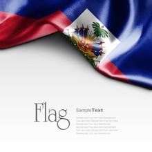 Flag Of Haiti On White Background. Sample Text.
