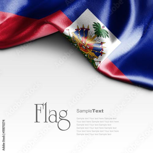 Stampa su Tela Flag of Haiti on white background. Sample text.