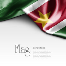 Flag Of Suriname On White Background. Sample Text.