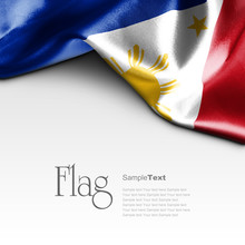 Flag Of Philippines On White Background. Sample Text.