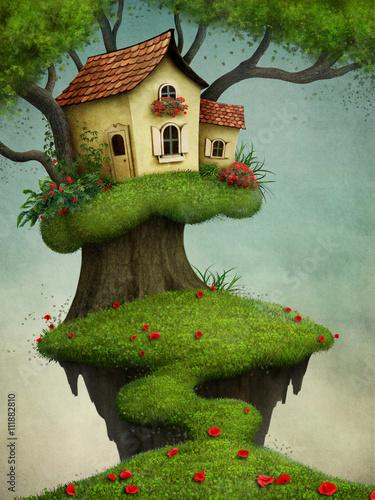 Fantazi ilustracja dla kartka z pozdrowieniami lub plakata z domem na drzewie