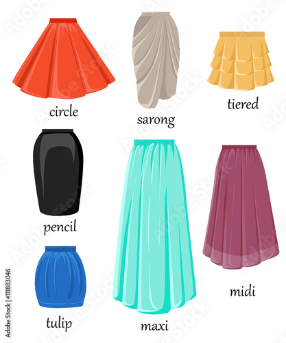 Fotografia different model and color skirt isolated on white background.