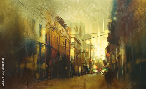 Fotografie, Obraz  city street,illustration painting with vintage style