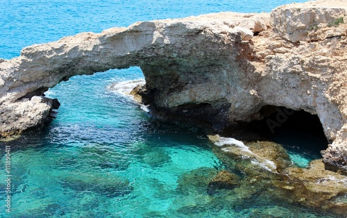 obraz dibond Mediterranean Sea caves nature wonder - Cape Greco Cyprus, famous touristic destination