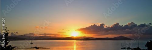 beautiful orange sunrise above the Aegean Sea