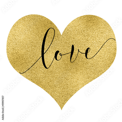 Gold effect heart with text inside on white background, perfect as a ...