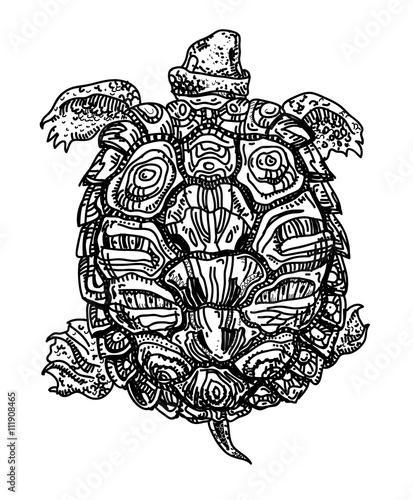 Swimming turtle with ornamental shell  Sketch, black on