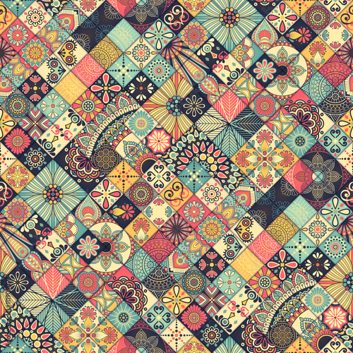 Photo  Ethnic floral seamless pattern
