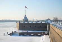 Naryshkin Bastion With Tower, Frosty February Day. Peter And Paul Fortress, St. Petersburg, Russia