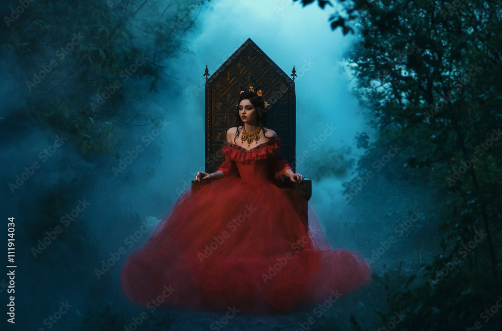 Fototapety, obrazy: dark evil queen sitting on a luxurious throne,dark boho,  Princess in red dress , vampire , hip toning , creative color,dark boho