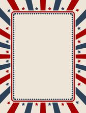 Vintage American Patriotic Background With Blank Space