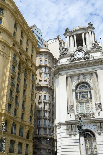 Classic neoclassical architecture in Cinelândia includes the Palácio Pedro Ernesto and the yellow-hued Wolfgang Amadeus Mozart building (Amarelinho) in Rio de Janeiro, Brazil