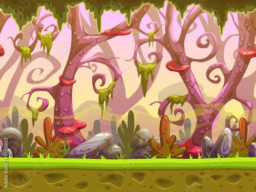 Foto op Aluminium Zalm Fantasy cartoon forest seamless landscape