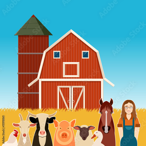 Farm banner with animals and a woman