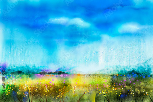Poster Bleu Watercolor painting landscape, wildflower and blue sky. Abstract wild flower paint in the meadows. Hand painted Yellow and Red flowers in field. Spring flower seasonal nature background