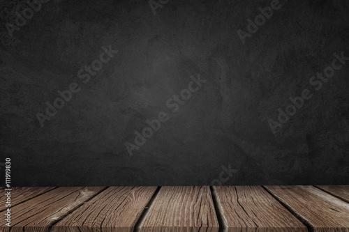 Foto auf Leinwand Katze Black Wooden Background