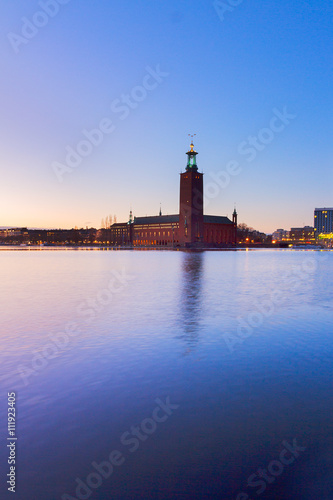 Montage in der Fensternische Leuchtturm cityhall of Stockholm, Sweden