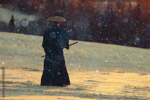 Fotografering  monk warrior snow landscape