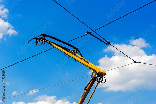 Vászonkép Tram overhead pantograph