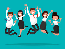 Business People Jumping Celebrating Victory. Vector Illustration