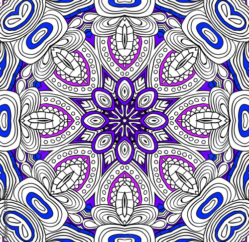 Round symmetrical pattern in blue and white colors. Mandala ...