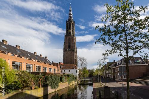 Photo Amersfoort Medieval town wall Koppelpoort and the Eem river