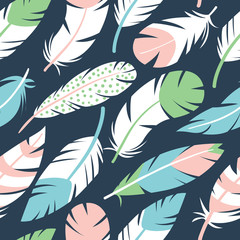 Bird feathers vector seamless pattern
