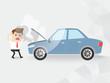 businessman shocked car broke down with smoke. insurance, car rent, loan, advertisement, repair. copy space
