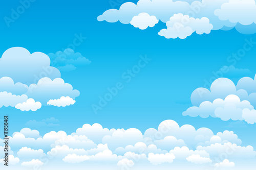 Fotografia  Sky with clouds  on a sunny day. Vector illustration