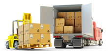 Freight Transportation, Packages Shipment, Warehouse Logistics And Cargo Loading And Unloading Concept, Delivery Truck Full Of Cardboard Boxes And Forklift With Pallet Isolated On White Background