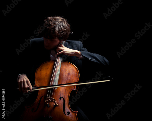 musician playing the cello Fotobehang
