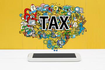 Fototapeta Do biura rachunkowego Tax concept with smartphone