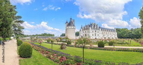 Foto auf Leinwand Schloss Panorama Chateau de Chenonceau, Loire Valley