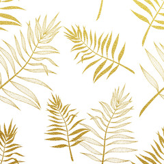 FototapetaPalm leaves seamless pattern. Vector botanical illustration.