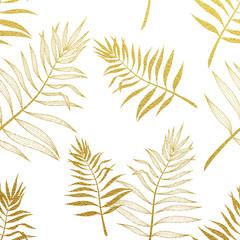 FototapetaPalm leaves seamless pattern. Vector botanical illustration.