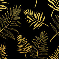 Obraz na SzklePalm leaves seamless pattern. Vector botanical illustration.