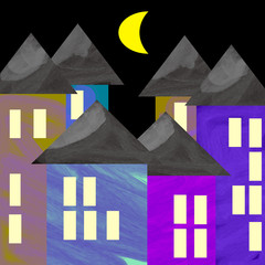 Panel Szklany Kolorowe domki Colored houses in a dark night