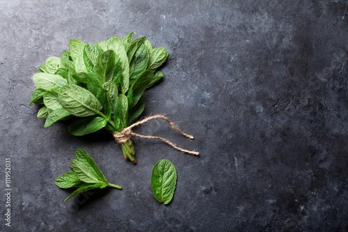 Obraz Fresh mint leaves herb on stone - fototapety do salonu