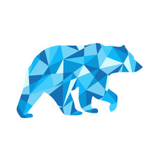 Blue Shapes Abstract Bear. Animal Isolated