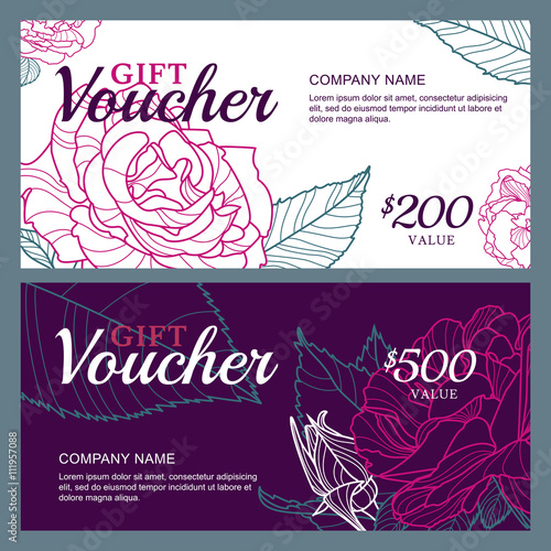 Vector Gift Voucher Template With Pink Roses Flowers Business Floral Card Template Roses Background Concept For Floral Shop Beauty Salon Spa Flyer Gift Coupon Invitation Banner Design Buy This Stock Vector